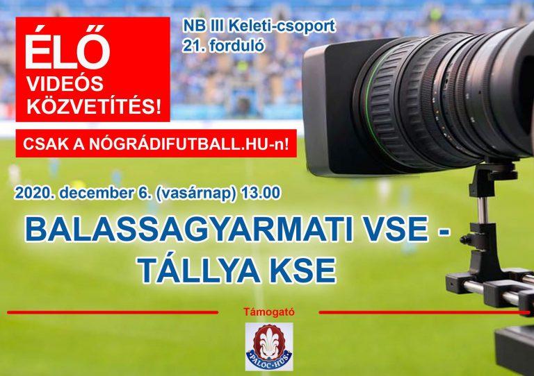 Élő videós közvetítés a BSE-Tállya bajnokiról