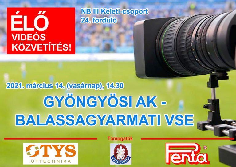Élő videós közvetítés a Gyöngyös-BSE mérkőzésről